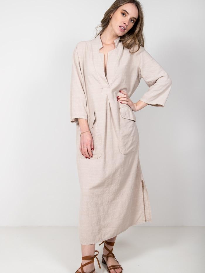 Vestido camisero largo algodón Beige