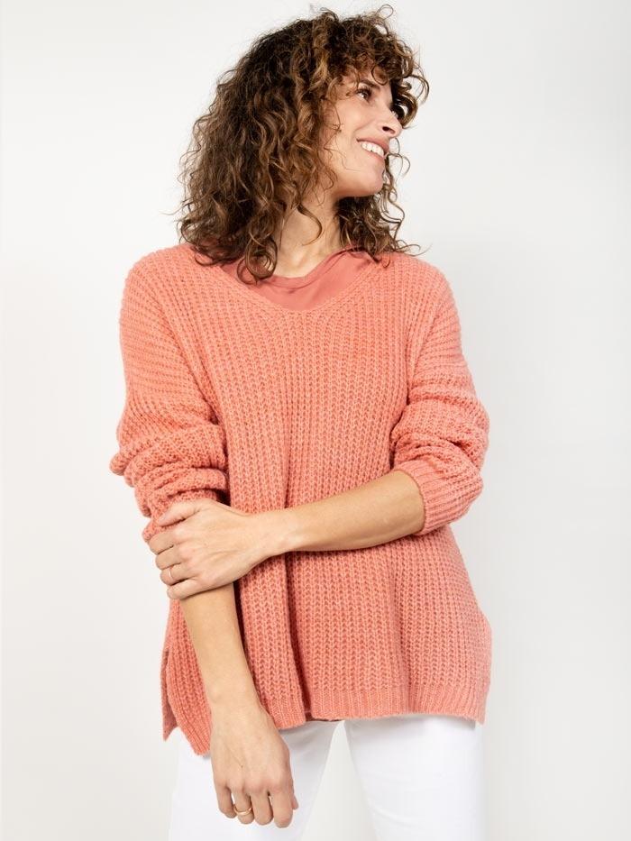 Jersey lana oversize mujer Naranja