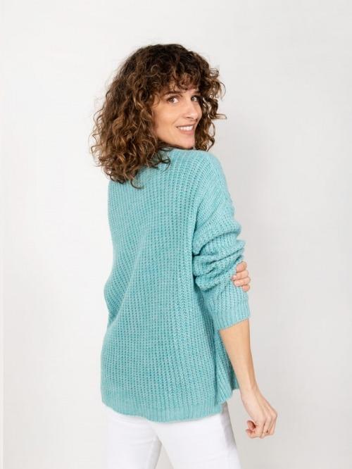 Jersey lana oversize mujer Turquesa