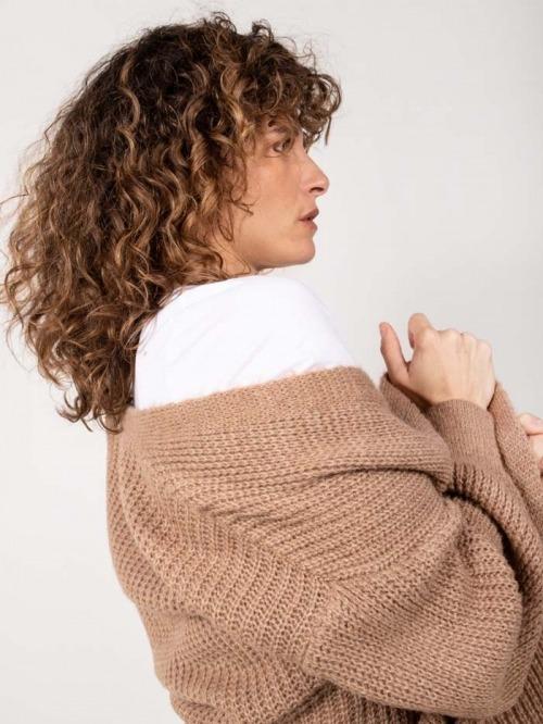 Long knit jacket Camel
