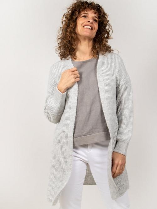 Long knit jacket Grey