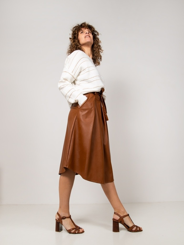 Eco-leather midi skirt Camel