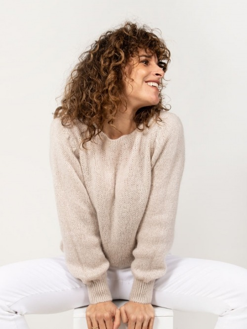 Jersey lana mujer Beige