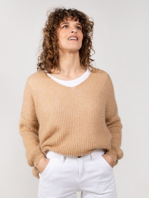 Wool sweater with glitter Camel