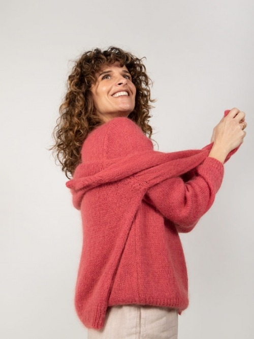 Chaqueta punto lana cuello redondo mujer Rojo