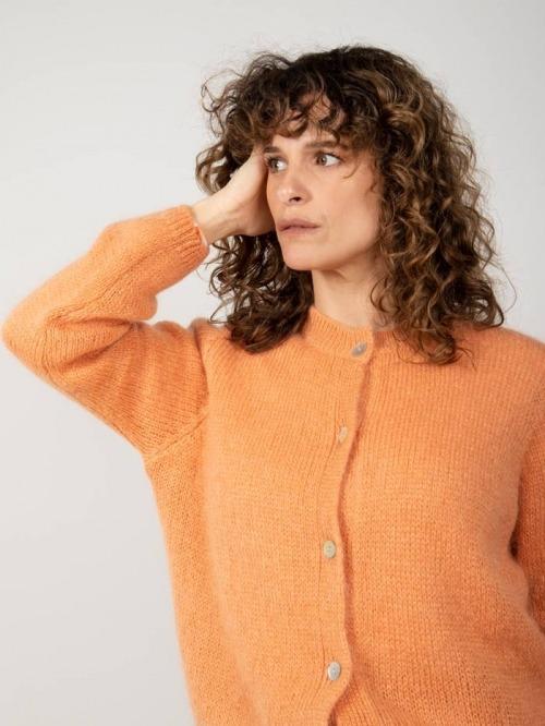 Chaqueta punto lana cuello redondo mujer Naranja