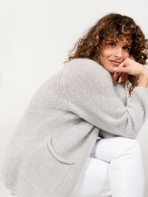 Chaqueta punto lana bolsillos mujer Gris