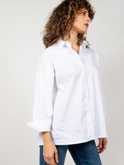 Oversized cotton shirt White