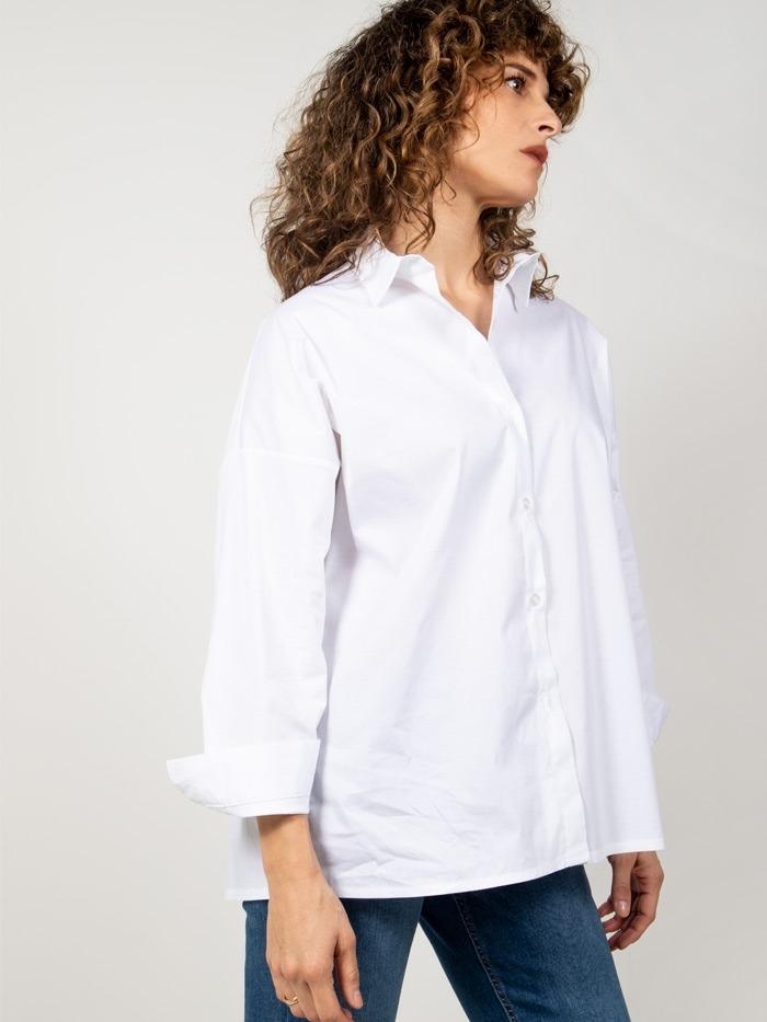 Camisa oversize algodón mujer Blanco