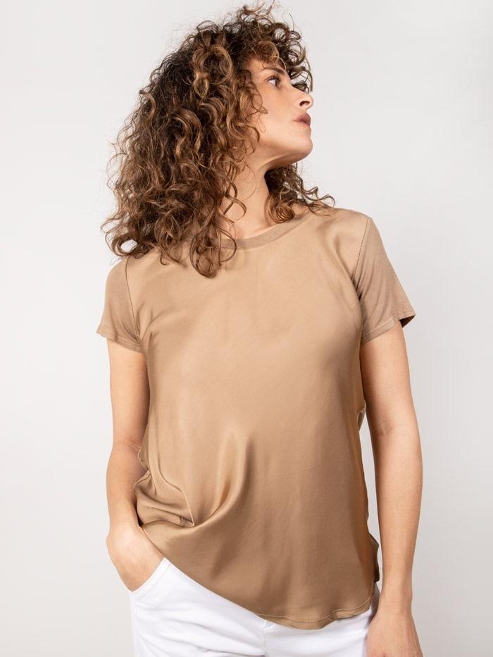 Satin t-shirt Camel
