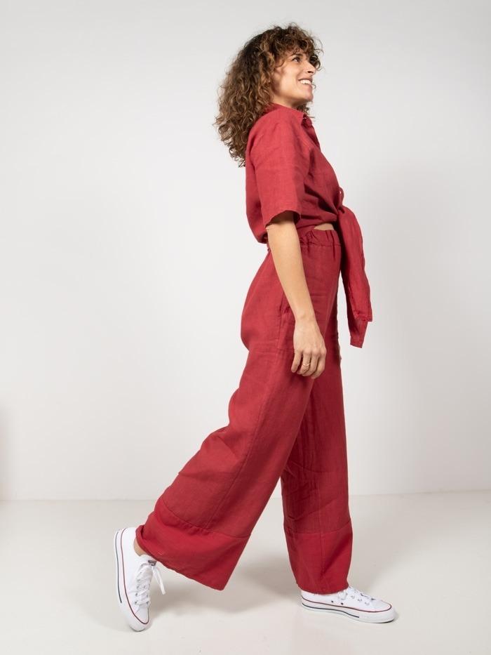 Pantalón lino mujer Rojo