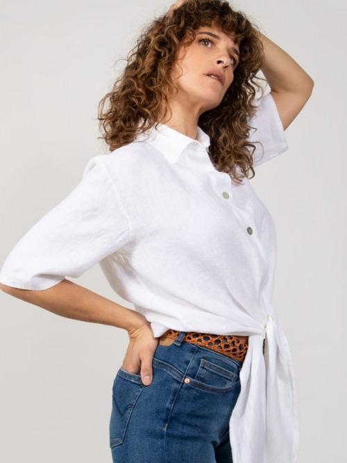 Camisa lino nudo mujer Blanco
