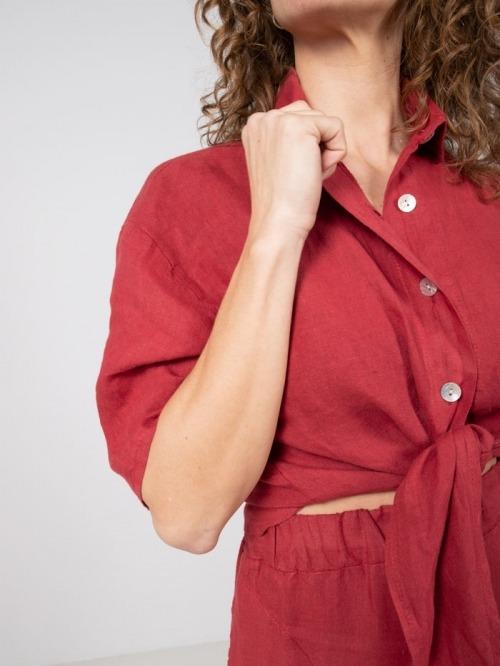 Camisa lino nudo mujer Rojo