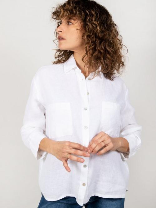 Camisa lino bolsillos mujer Blanco