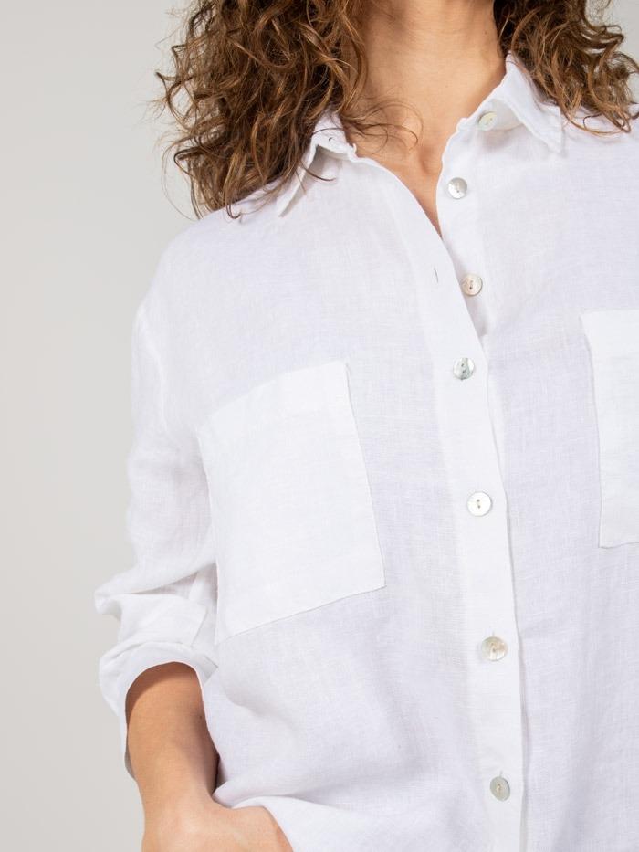 Camisa lino mujer bolsillo Blanco