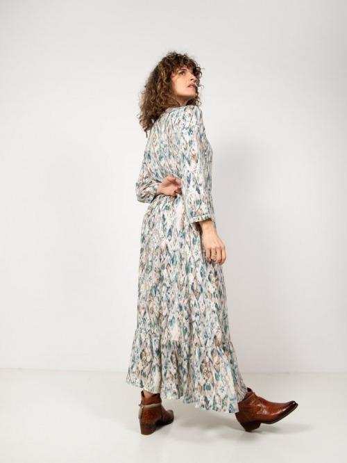 Long ethnic print dress Beige