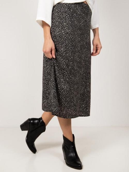 Printed fluid skirt Black