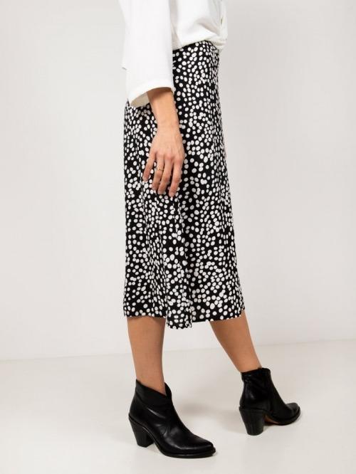 Polka dot print fluid skirt Black