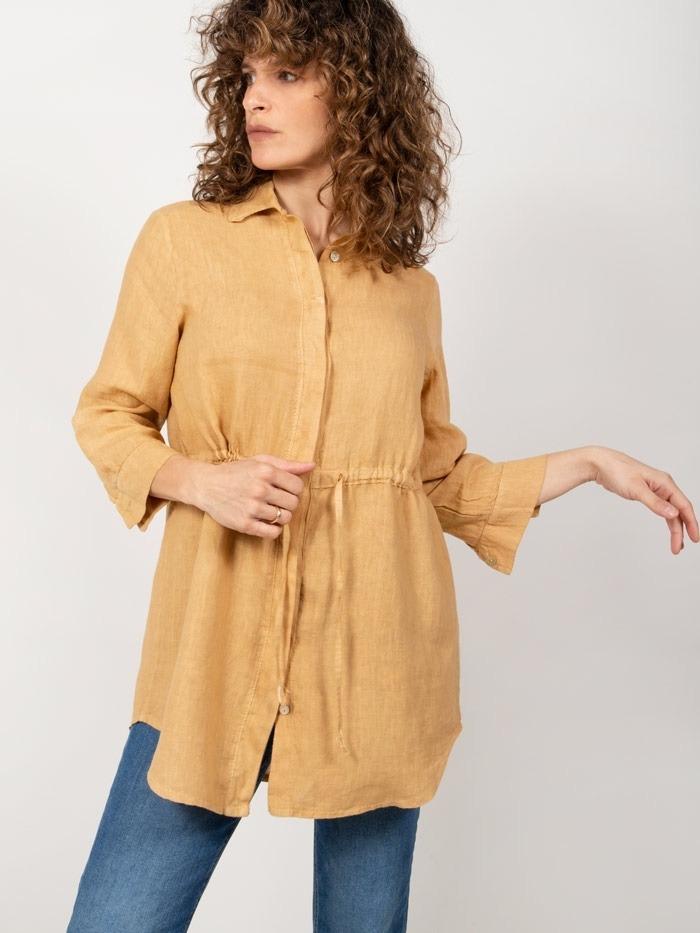 Camisa lino con cinturon mujer miel