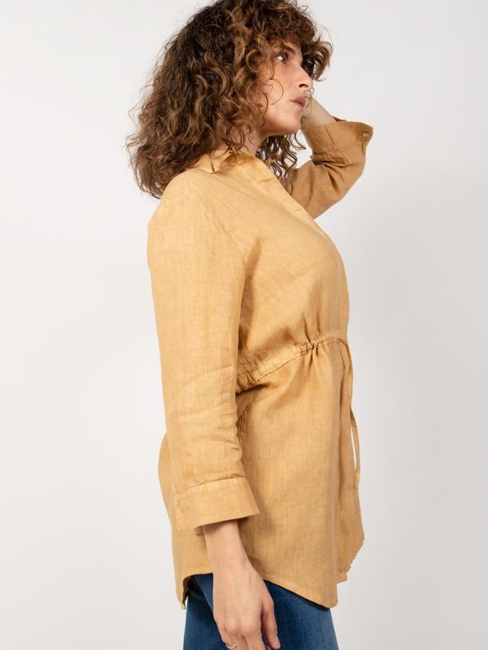 Camisa lino mujer con cinturon miel