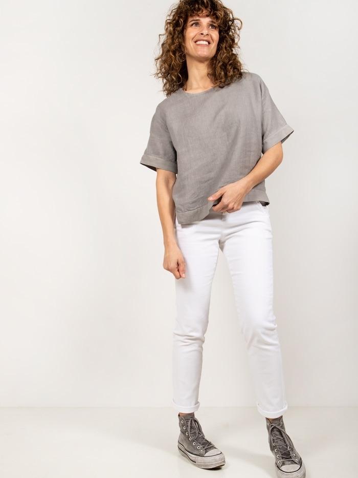 Camisa lino detalle mangas mujer Gris
