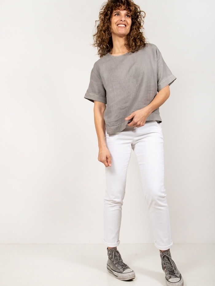 Linen shirt with detail Grey
