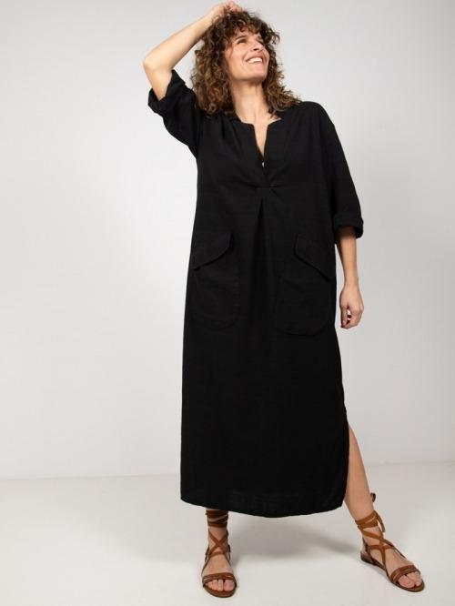 Long cotton shirt dress Black