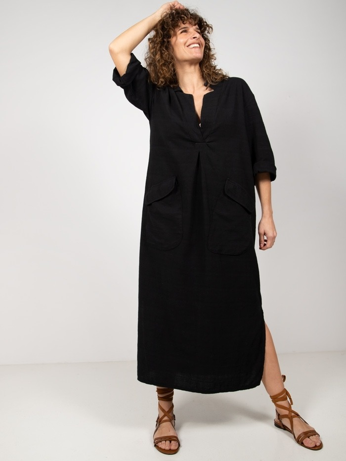Vestido camisero largo algodón Negro