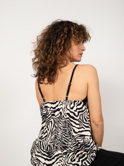 Animal print lingerie top Black