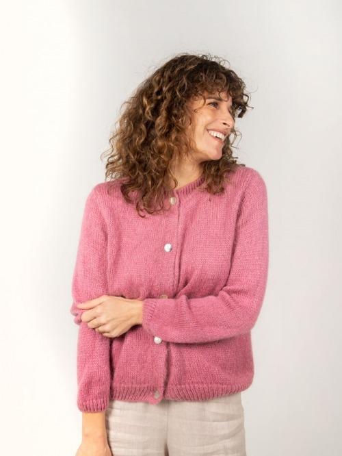 Chaqueta punto lana cuello redondo mujer Rosa