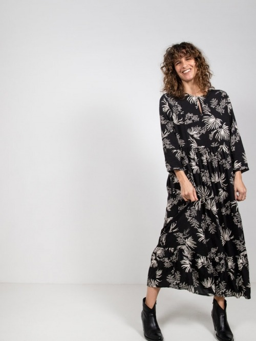 Long dress with palm trees Black