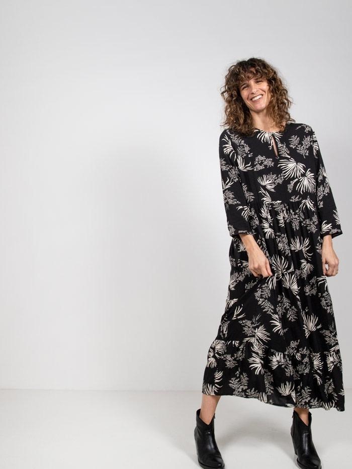 Vestido largo estampado palmeras Negro