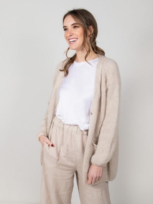 Chaqueta lana con bolsillos mujer Beige