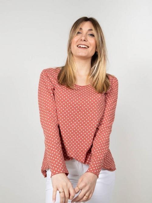 Camiseta algodón motas mujer Rosa