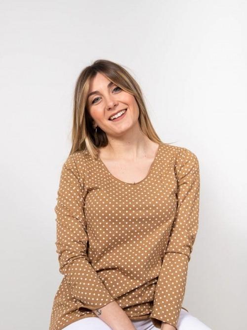 Camiseta algodón motas mujer Camel