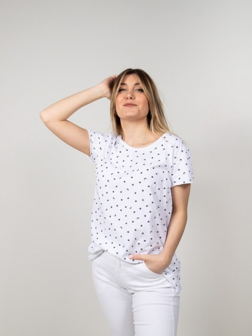 Printed cotton t-shirt with moons White