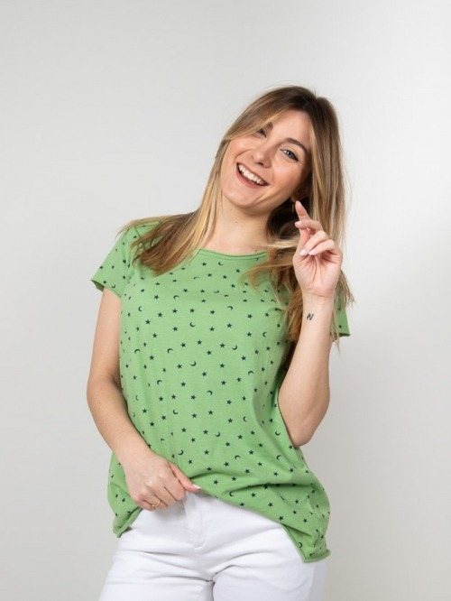Printed cotton t-shirt with moons Verde