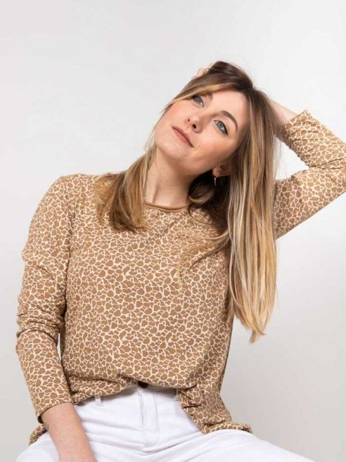Animal print t-shirt Camel