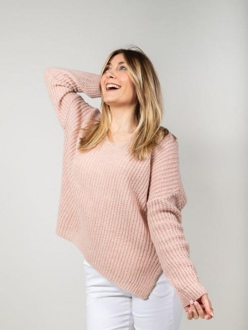 Jersey lana mujer oversize Rosa
