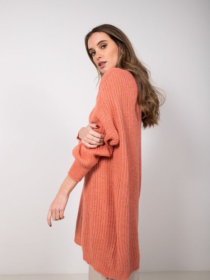 Vestido punto mohair mujer Naranja