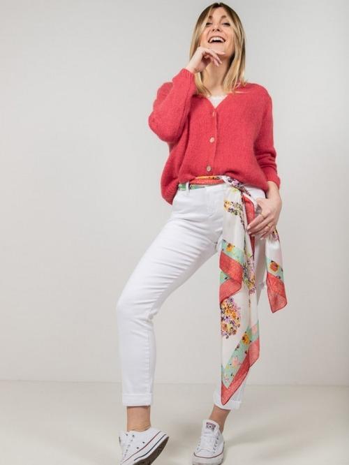 Chaqueta lana botones mujer Rojo