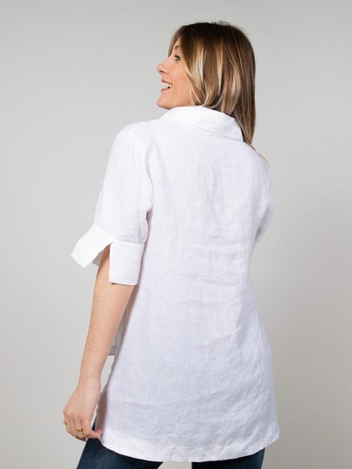 Camisa mujer lino mujer manga al codo Blanco