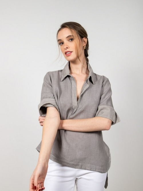 Camisa lino manga al codo mujer Gris