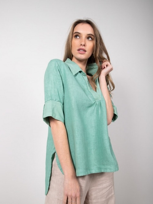 Camisa lino manga al codo mujer Verde