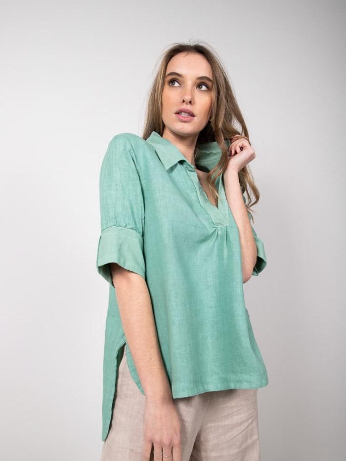 Camisa lino mujer manga al codo Verde