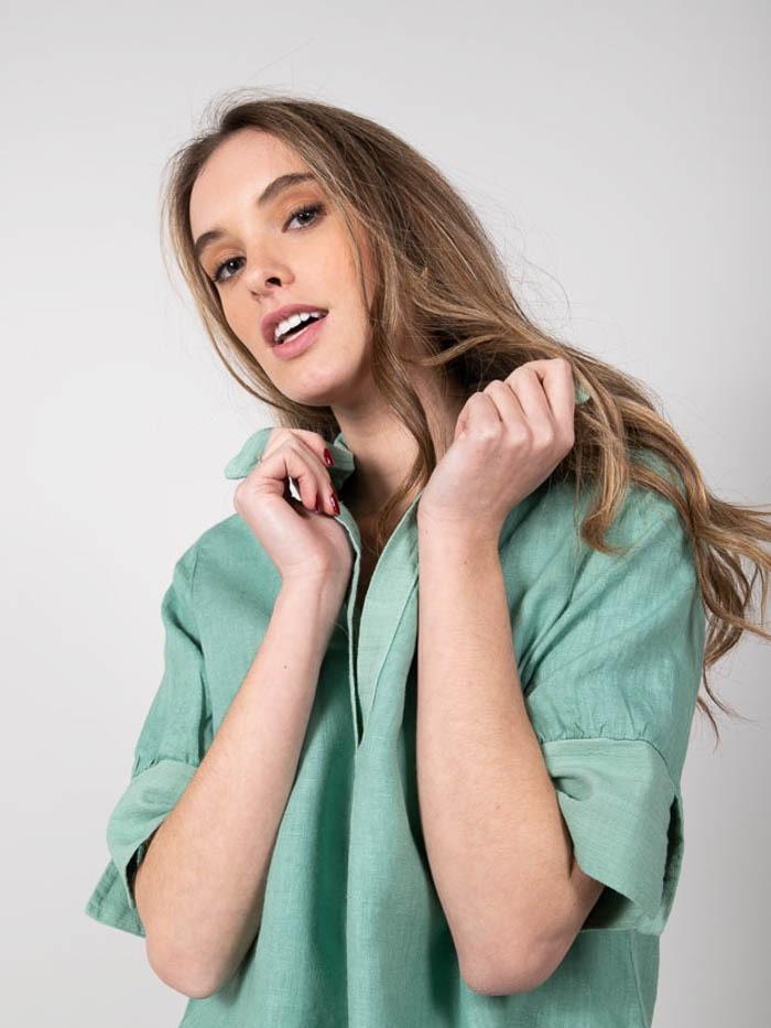 Woman Linen shirt elbow sleeve Green