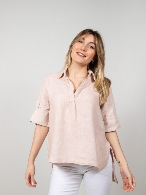 Camisa lino manga al codo mujer Rosa
