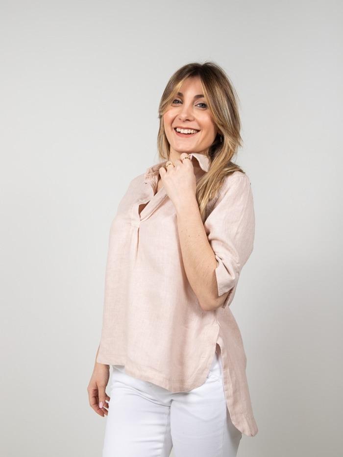 Camisa lino mujer manga al codo Rosa