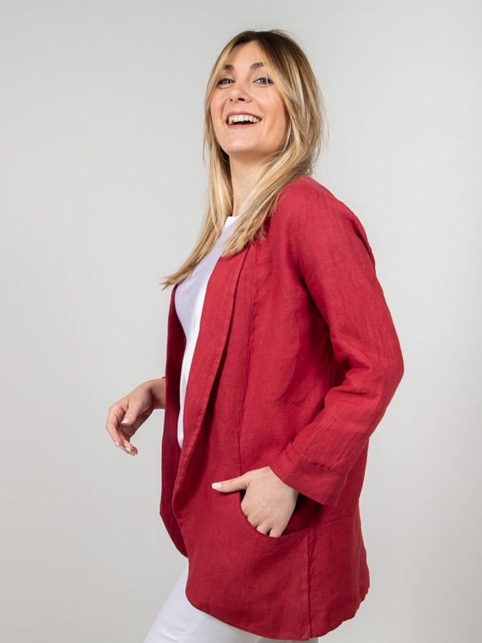 Women Linen blazer Red
