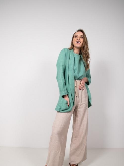 Women Linen blazer Green